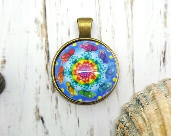 Rainbows and Butterflies art pendant, wearable art, vibrant and happy mandala art, spring jewellery, colourful multi coloured pendant.