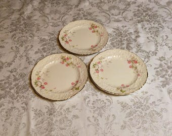 Set of 3 Medium Plates, Rose Point with Embellished Floral Trim - Fine China with Gold Trim - Discontinued Pope Gosser - Wedding Serving