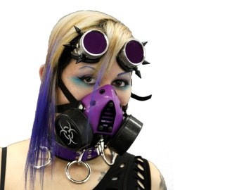 DSF Grille & Spike Respirator - Cyber Goth gas Mask DUAL CAN biohazard costume halloween club pink blue red black white purple green 5456