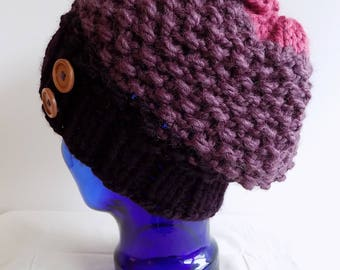 Slouchy Knit Hat - Womens Winter Hat with Buttons - Chunky Knit Hat - Purple and Pink Knitted Hat - Colorblock Hat - Fig & Raspberry Hat