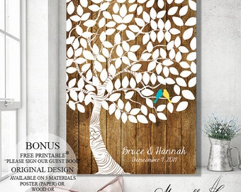 Wedding Gift Guest Book Alternative Rustic Wedding Tree, Guest Book Wedding Signs Wedding Canvas, Wood Guest Book Tree Personalized Gift