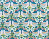 Liberty fabric Tana Lawn Strawberry Feast - 5x10'' scrap-  teal/pink - The Garden of Dreams