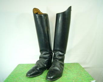 Vintage English Riding Boots - Collectible Jockey Boots - Black Leather Riding Boots size 8 1/2 UK, 9 1/2 Mens US, 10 1/2 Womens US - D317