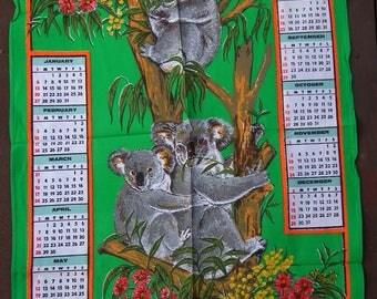 Vintage 1985 Calendar Tea Towel Dish Towel  Australia Koalas and Wildflowers Bright Green Kitchen Decor Australiana Gum Blossom Wattle