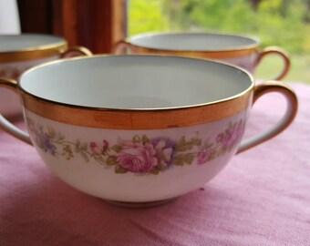 Vintage Set of 8 Bouillon Consomme Cream Soup Double Handle Bowls and Saucers Richard Briggs Co Charles Ahrenfedlt  C213J