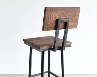Bar Stool made from Reclaimed Barn Wood / Industrial Swivel Stool
