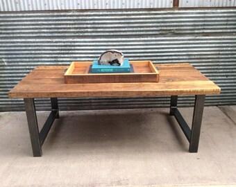 Reclaimed Wood Coffee Table / Industrial Metal H-Shaped Legs / Barnwood Coffee Table