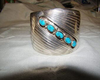 1-P Native American Stamped Sterling Bracelet