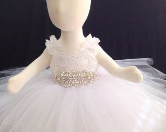 Baby Christening Dress Christening Gown, White Christening Gown,Flower Girl gown,Special Occasion Girl Dresses, Flower Girl Tutu Dress