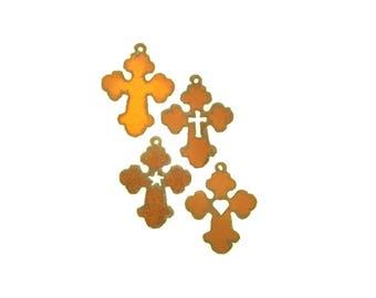 Chubby Cross Rusty Pendant/Charm Assortment