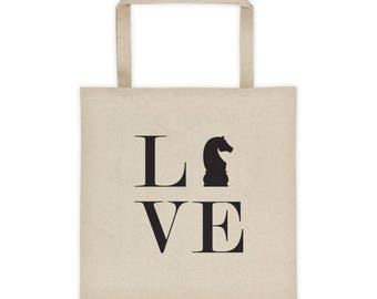 Tote bag - Live Love Chess Black Knight Tote Bag
