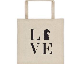 Tote bag - Live Love Chess Black Knight Tote Bag