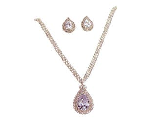 Cubic Zirconia V- Necklace and Earrings Set, CZ paved Jewelry Set, Wedding Jewelry set,  Treadrop Pendant necklace and earrings, Silver