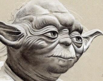 Yoda - Original Framed Charcoal Artwork