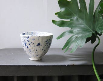 Blue and White Speckled Bowl || Small Speckled Bowl || Ceramic Bowl || Specked Pottery Bowl