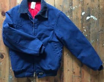 Vintage Carhartt Workwear Winter Jacket Coat // Men's Indigo Canvas Quilted Lining Bomber Jacket sz M / L