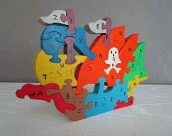 Pirate ship puzzle to learn the Alphabet