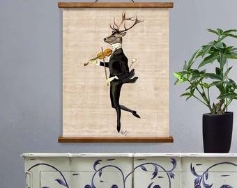 Deer Wall Decor deer in smoking jacket deer illustration wall art wall decor