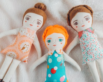 Handmade cloth doll for kids, girls, stuffed doll, toy, fabric doll