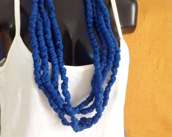 Fabric scarf knotted bib statement chunk boho necklace  sof BLUE - Multistrand necklace fabric cotton knotted - keep warm your neck