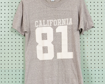 80s Vintage California 81 Artex T Shirt Size M Heather Gray 1981