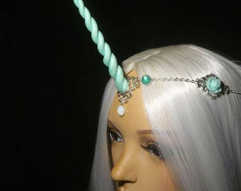 Mint Blossom Unicorn - Tiara with handsculpted Unicorn Horn