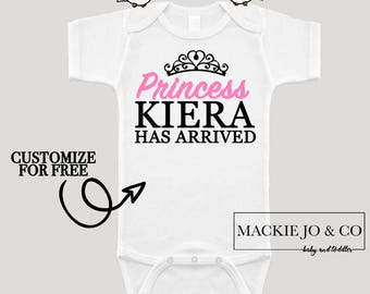 The Princess Has Arrived PERSONALIZE Name and Color Bodysuit Princess has arrived