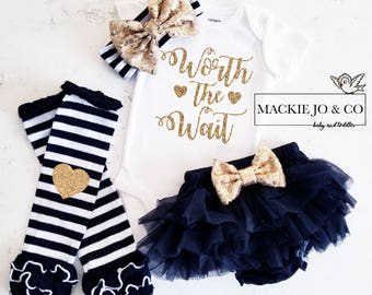 Worth the Wait Coming home Set Custom Name Gold Glitter with Heart Gold headband and Legwarmer Set Birth Announcement Bodysuit