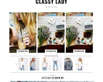 "Blogger Template ""Classy Lady"" Premade Responsive Blog // Instant Download Modern Blogspot Theme Design"