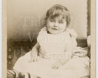 CDV Carte de Visite Photo Cute Victorian Little Girl Portrait by Abel Lewis of Clifton England