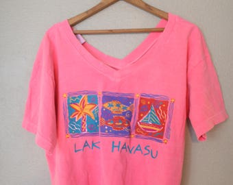 vintage lake havasu hot pink slouchy cropped vacation tourist t shirt