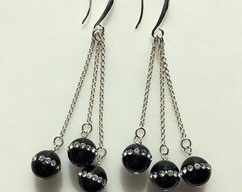 Long Black and Rhinestone Sterling Silver Earrings