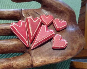 Red Heart Beads, vintage heart beads, red hearts, heart shaped beads, clay heart beads, set of 6