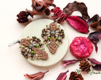 Rustic macrame earrings, green brown earrings, earthy colors, micromacrame, bohemian earrings, Picasso beaded earrings, nature inspired