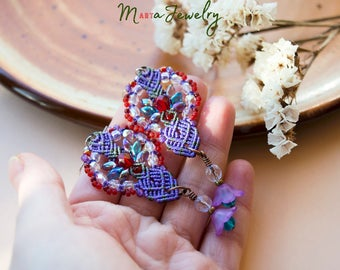 Floral macrame earrings, ultra violet red, lucite, flowers, beaded, micro-macrame jewelry, beadwork, beadwoven, bohemian, boho chic, gypsy