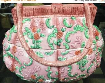 ON SALE - Vintage Ceramic Pink Roses and Green Leaf Design Purse Cookie/Treat Jar