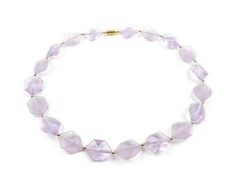 Vintage Lavender Bead Necklace, Lucite