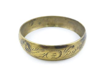 Old Etched Bangle, Gold Tone, Boho