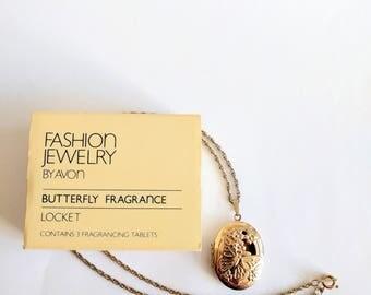 Vintage 80s Avon locket necklace Butterfly Fragrance 1983 perfume glace gold tone charm pendant original box