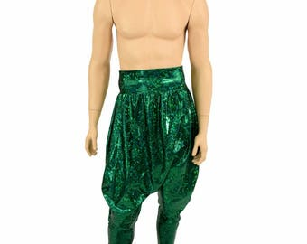 Unisex Drop Crotch Harem Pants with Pockets in Green Shattered Glass Holographic Festival Rave Roomy Lounge Pants - 155020