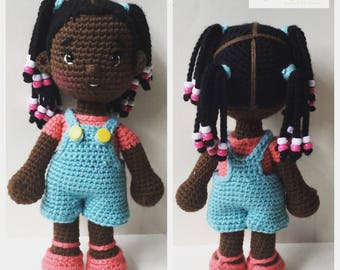 Crochet Doll Pattern - Little Kindergartener - Amigurumi Doll Pattern - Crochet Pattern - Black Doll Pattern - PDF Instant Download