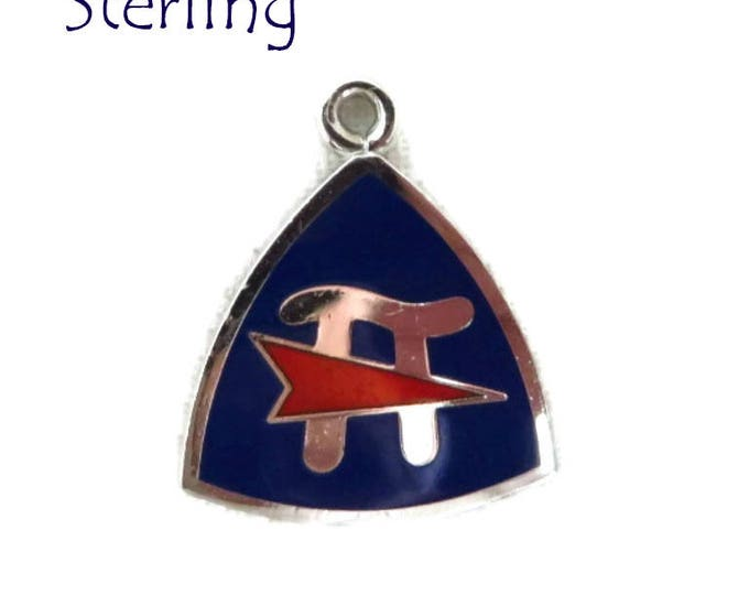 Silver Pennant Charm - Vintage Sterling Silver Pi Symbol Charm, Fraternity Charm, Gift for Her
