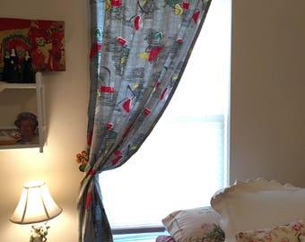 "Mid Century Barkcloth Atomic Age Curtain Panels, Set of Two, 81"" x 42"" Rambler Bedroom Drapes, Eames Era, Space Age, Boomerang on Grey"