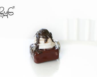 Ultimate Fudge Brownie - Polymer Clay Jewelry Food Charm