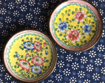 PAIR of Vintage Enamel on Copper Pin/Trinket Dishes