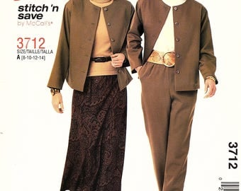 Misses Unlined Jacket, Pull On Bias Skirt, Pull On Pants, Sizes 8,10,12,14, Stitch 'n Save 3712