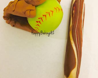 Fondant Softball/Baseball Glove, Ball, and Bat Cake Topper