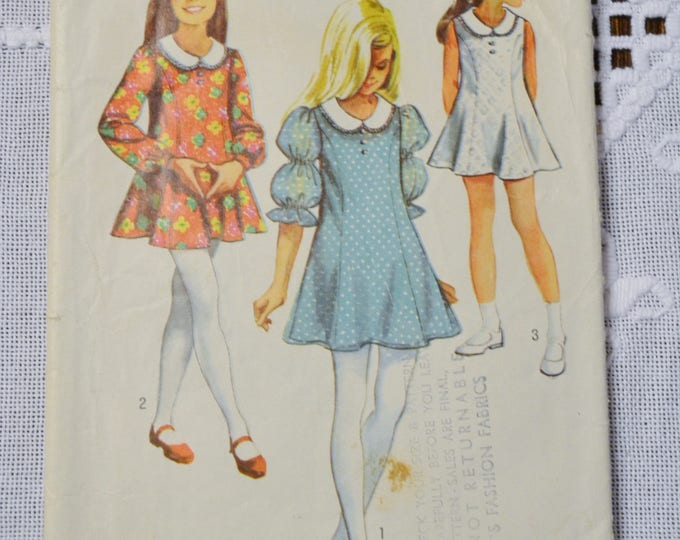 Vintage Simplicity 8624 Sewing Pattern Crafts Girls Dress Size 12 1/2  DIY Sewing Crafts PanchosPorch