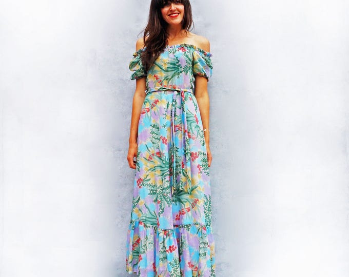 Boho Maxi Dress, Vintage Maxi Dress, 70s Floral Dress, Bardot Dress, Off The Shoulder Dress, Hippie Dress, Wedding Guest Dress, Long Dress
