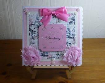 Shabby Paris Chic Ladies Birthday Card